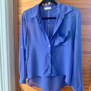 Tops - Periwinkle chiffon collared blouse